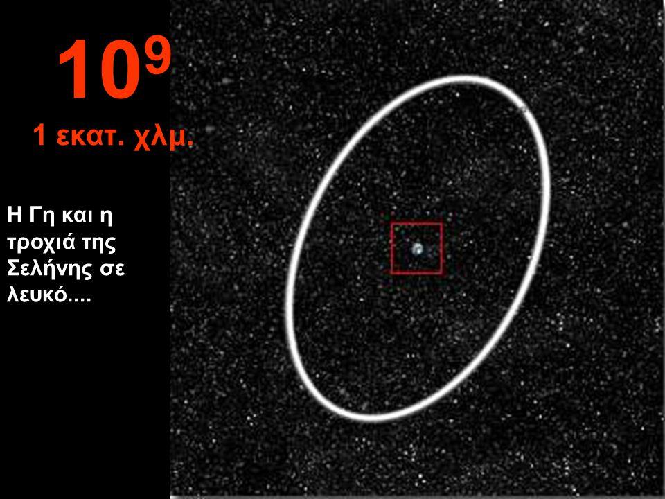 109 1 εκατ. χλμ. Η Γη και η τροχιά της Σελήνης σε λευκό....