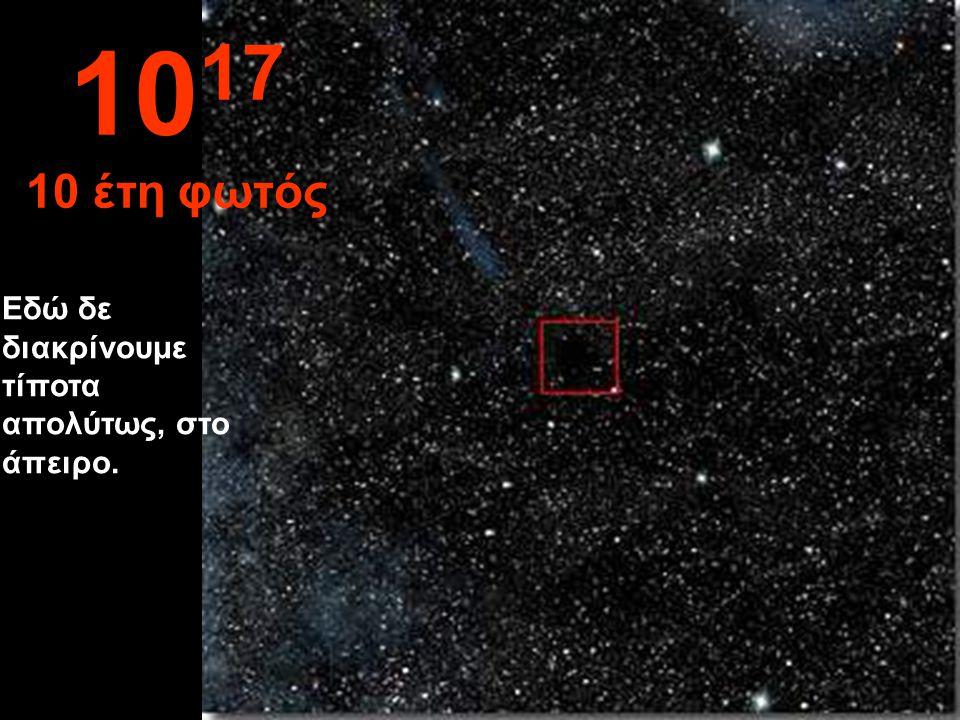 1017 10 έτη φωτός Εδώ δε διακρίνουμε τίποτα απολύτως, στο άπειρο.