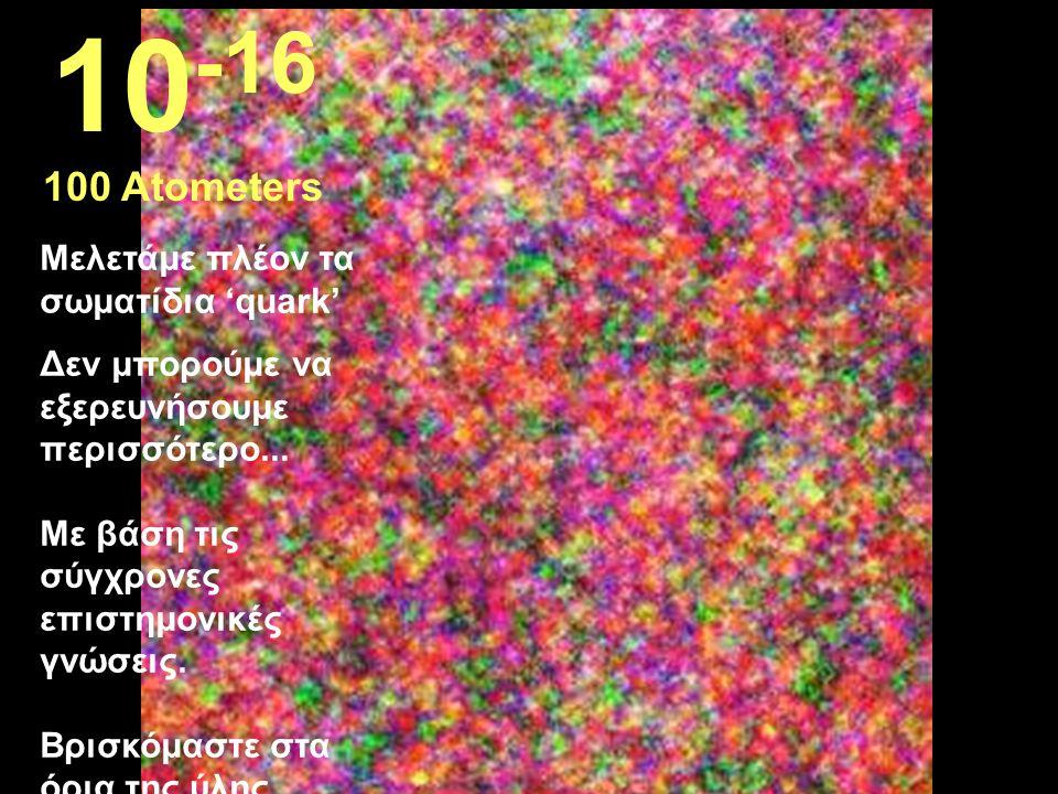 10-16 100 Atometers Μελετάμε πλέον τα σωματίδια 'quark'