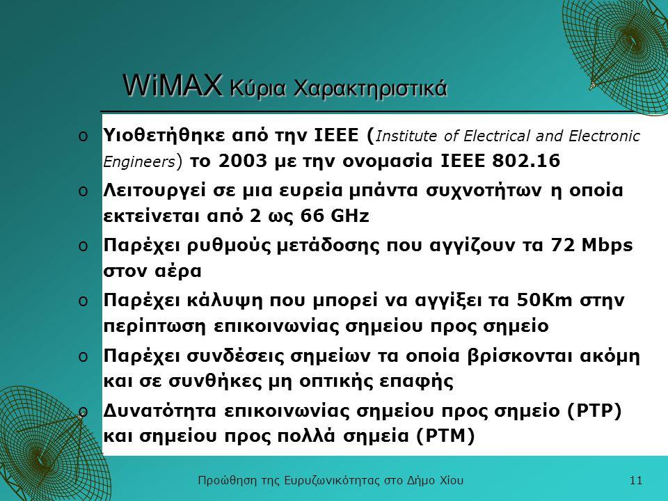 WiMAX Κύρια Χαρακτηριστικά