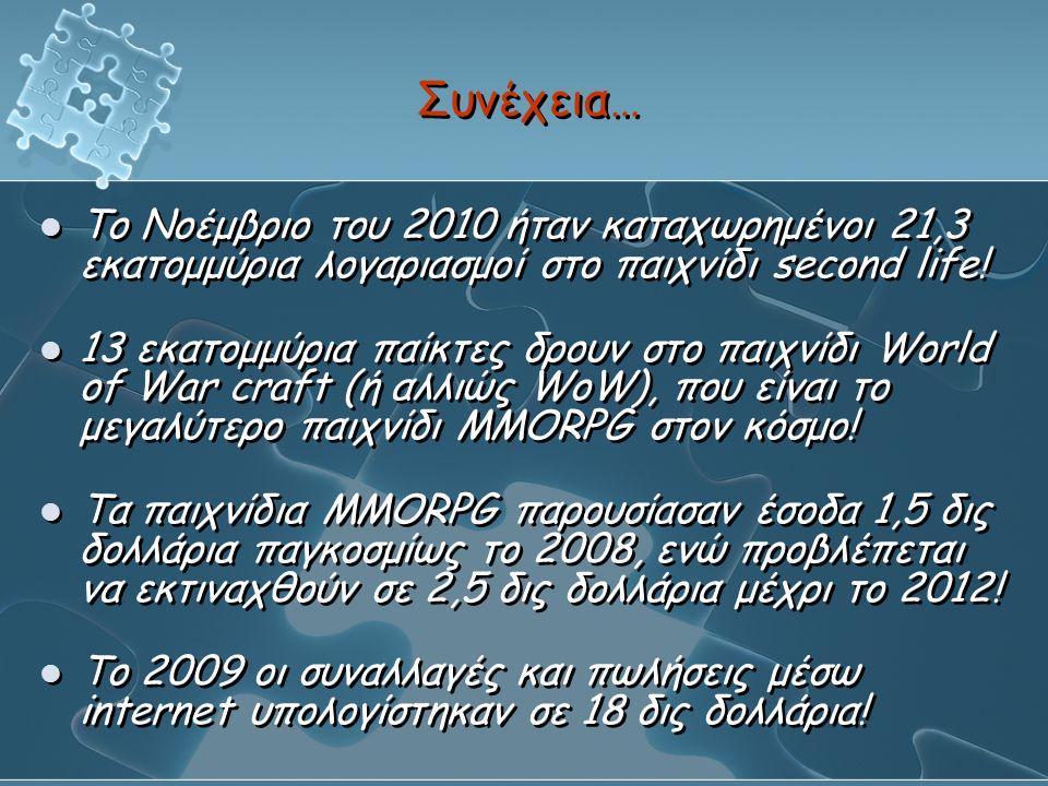 Συνέχεια… Το Νοέμβριο του 2010 ήταν καταχωρημένοι 21,3 εκατομμύρια λογαριασμοί στο παιχνίδι second life!