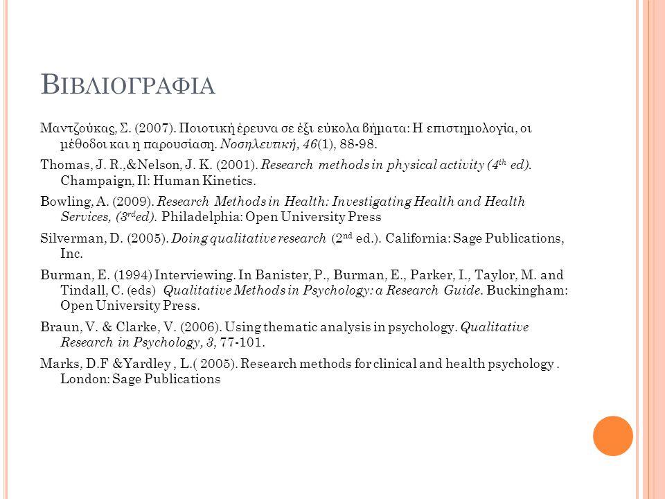 Βιβλιογραφια Μαντζούκας, Σ. (2007). Ποιοτική έρευνα σε έξι εύκολα βήματα: Η επιστημολογία, οι μέθοδοι και η παρουσίαση. Νοσηλευτική, 46(1), 88-98.