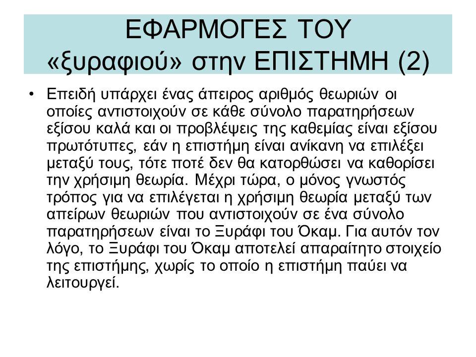 ΕΦΑΡΜΟΓΕΣ ΤΟΥ «ξυραφιού» στην ΕΠΙΣΤΗΜΗ (2)