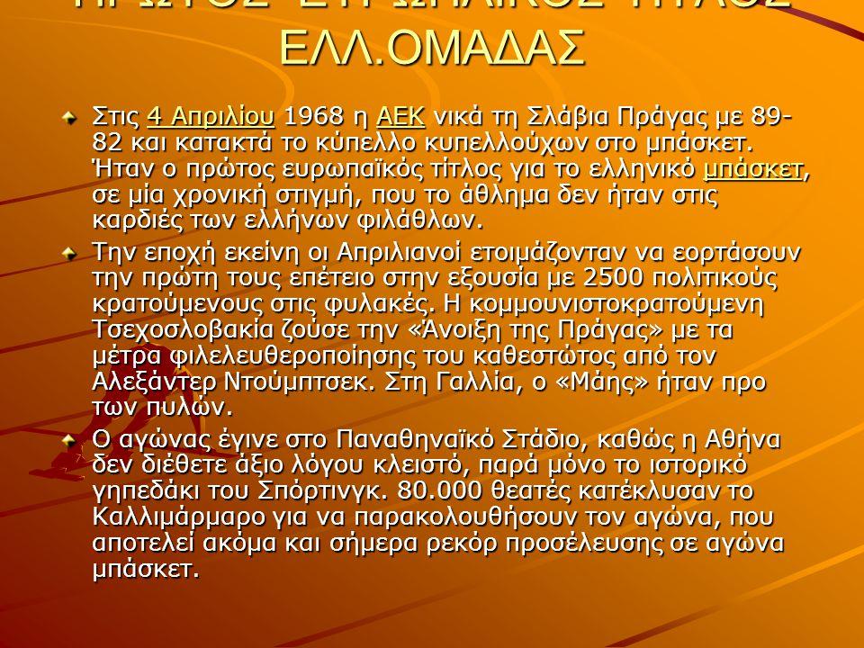 ΠΡΩΤΟΣ ΕΥΡΩΠΑΙΚΟΣ ΤΙΤΛΟΣ ΕΛΛ.ΟΜΑΔΑΣ