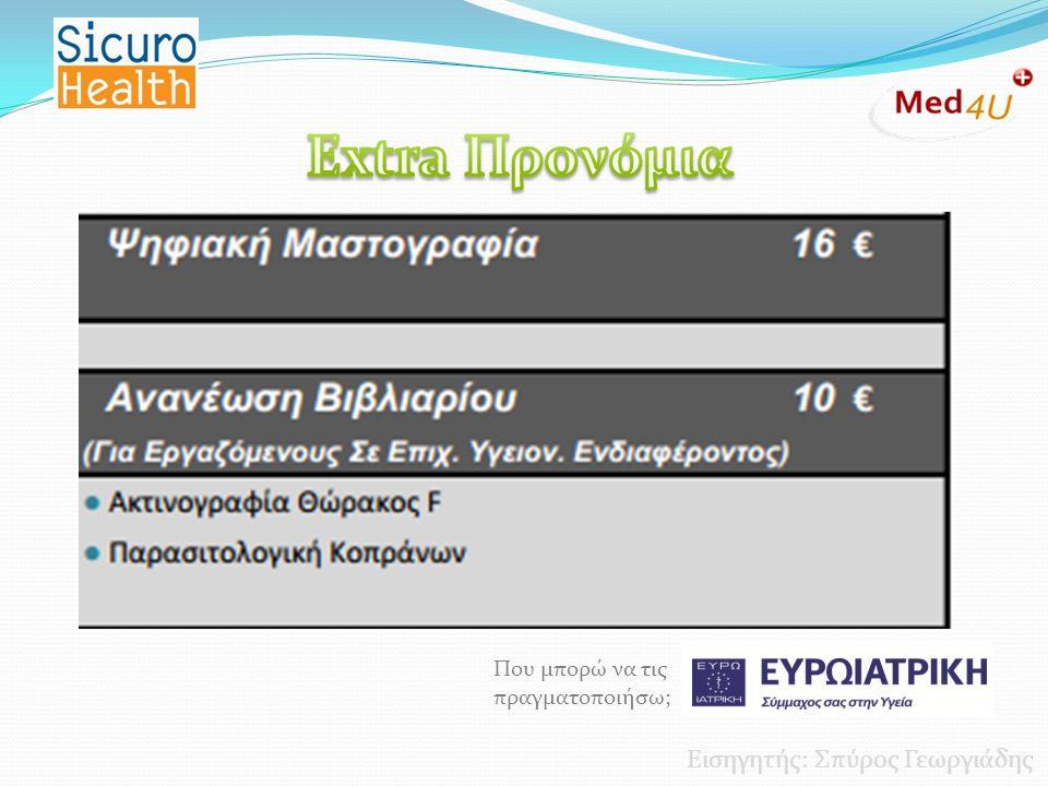 Extra Προνόμια Εισηγητής: Σπύρος Γεωργιάδης