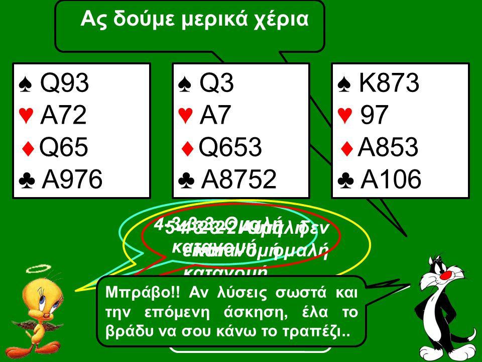 ♠ Q93 ♥ A72 Q65 ♣ A976 ♠ Q3 ♥ A7 Q653 ♣ A8752 ♠ Κ873 ♥ 97 Α853