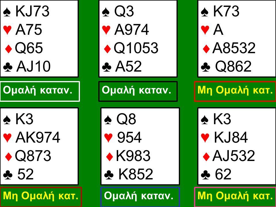 ♠ KJ73 ♥ A75 Q65 ♣ AJ10 ♠ Q3 ♥ A974 Q1053 ♣ A52 ♠ Κ73 ♥ A Α8532