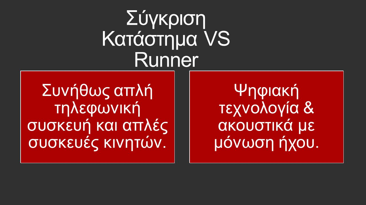 Σύγκριση Κατάστημα VS Runner