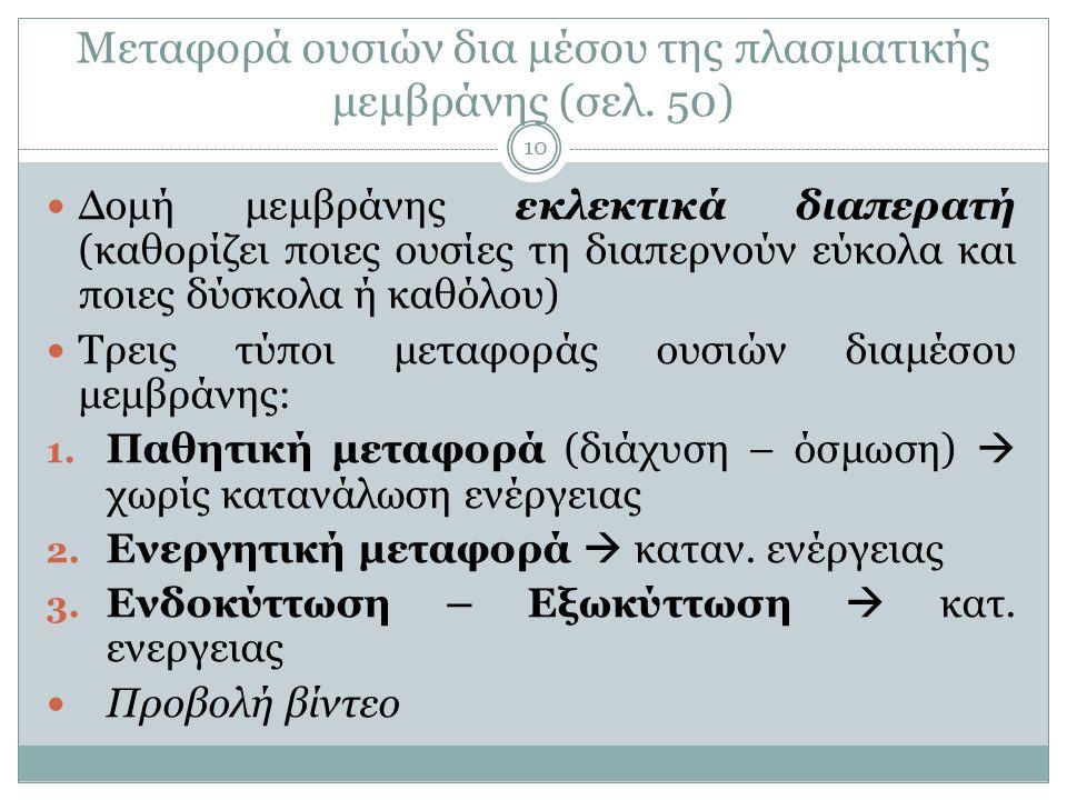 Μεταφορά ουσιών δια μέσου της πλασματικής μεμβράνης (σελ. 50)