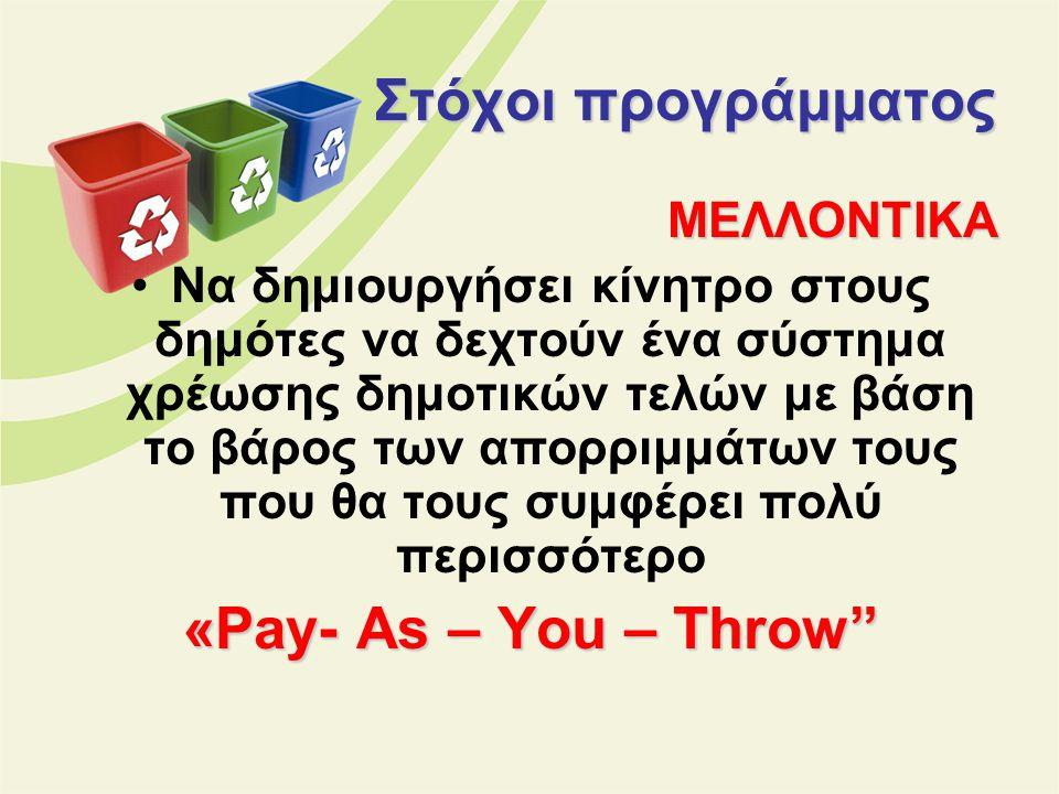 Στόχοι προγράμματος «Pay- As – You – Throw ΜΕΛΛΟΝΤΙΚΑ