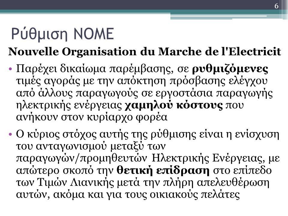 Ρύθμιση NOME Nouvelle Organisation du Marche de l Electricit