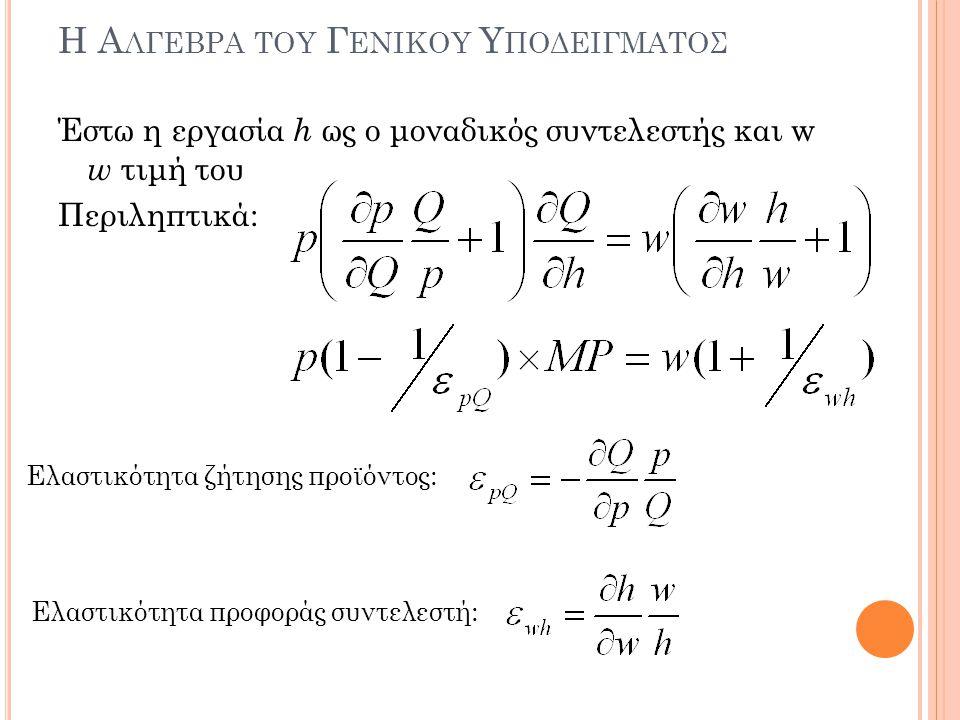 Η Αλγεβρα του Γενικου Υποδειγματοσ