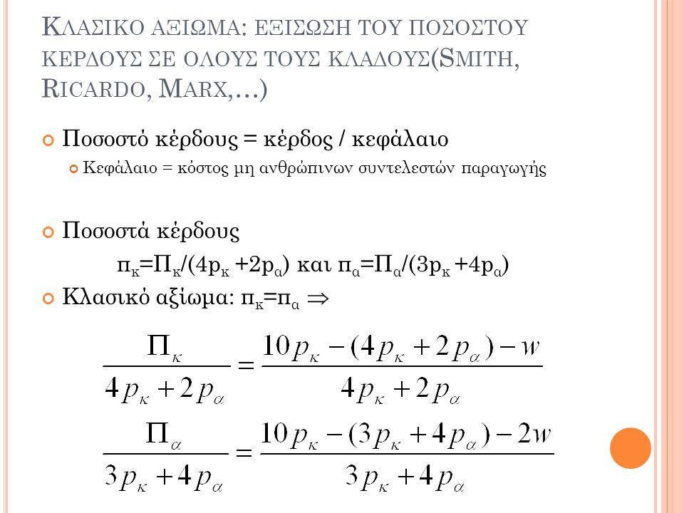 πκ=Πκ/(4pκ +2pα) και πα=Πα/(3pκ +4pα)