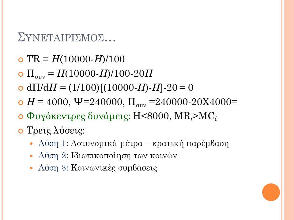 Συνεταιρισμοσ… TR = H(10000-H)/100 Πσυν = H(10000-H)/100-20H
