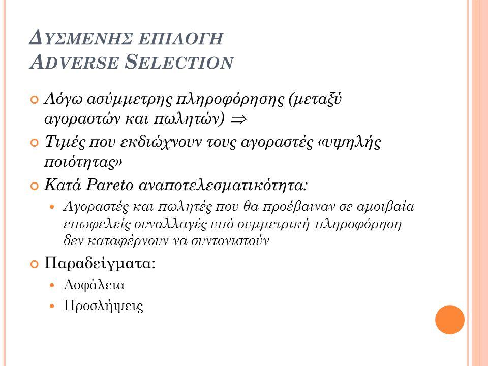 Δυσμενησ επιλογη Adverse Selection