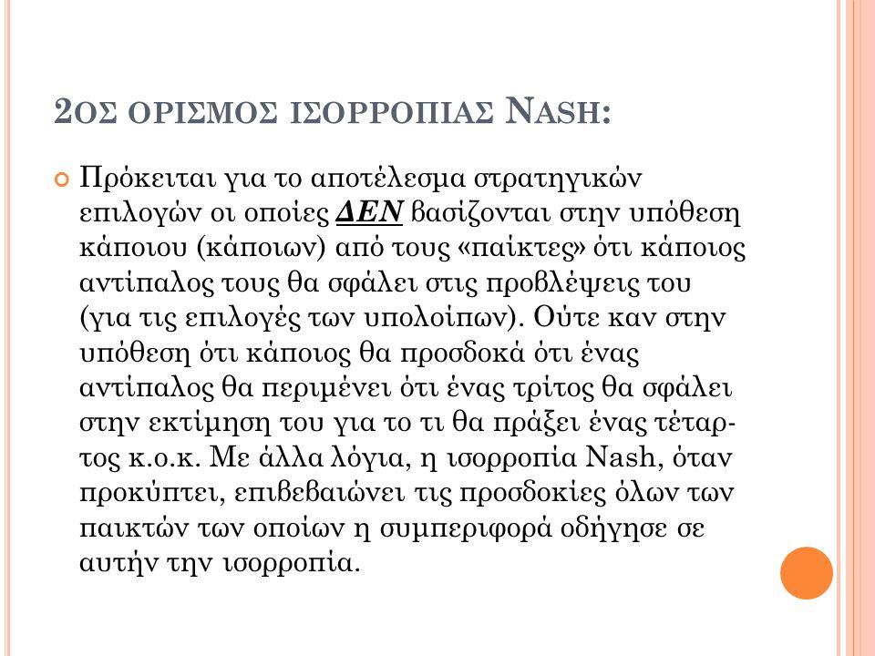 2ος ορισμoσ ισορροπiασ Nash: