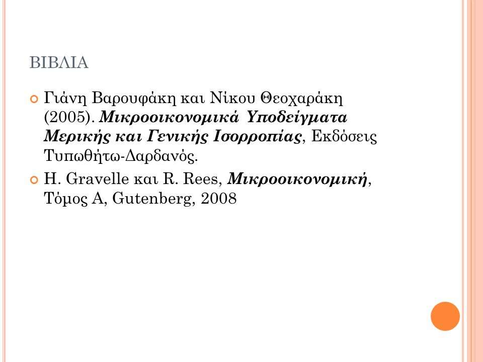 βιβλια Γιάνη Βαρουφάκη και Νίκου Θεοχαράκη (2005). Μικροοικονομικά Υποδείγματα Μερικής και Γενικής Ισορροπίας, Εκδόσεις Τυπωθήτω-Δαρδανός.