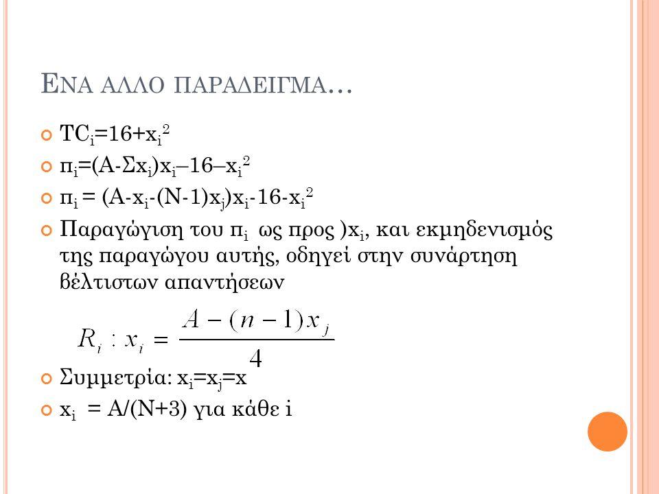 Ενα αλλο παραδειγμα… TCi=16+xi2 πi=(Α-Σxi)xi–16–xi2