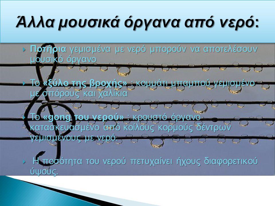 Άλλα μουσικά όργανα από νερό: