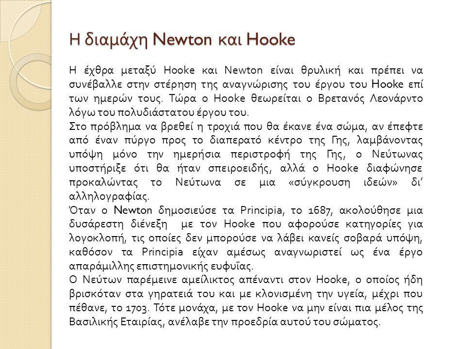Η διαμάχη Newton και Hooke