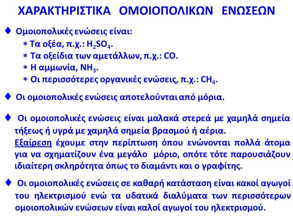 ΧΑΡΑΚΤΗΡΙΣΤΙΚΑ ΟΜΟΙΟΠΟΛΙΚΩΝ ΕΝΩΣΕΩΝ