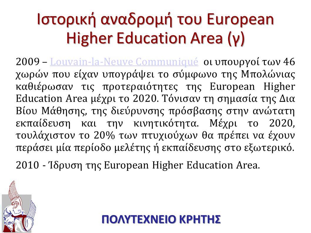 Ιστορική αναδρομή του European Higher Education Area (γ)