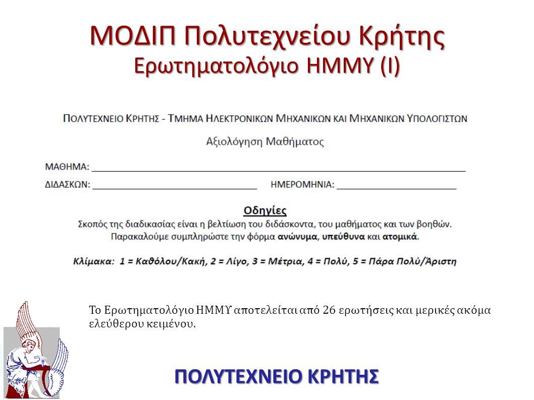 ΜΟΔΙΠ Πολυτεχνείου Κρήτης Ερωτηματολόγιο ΗΜΜΥ (I)