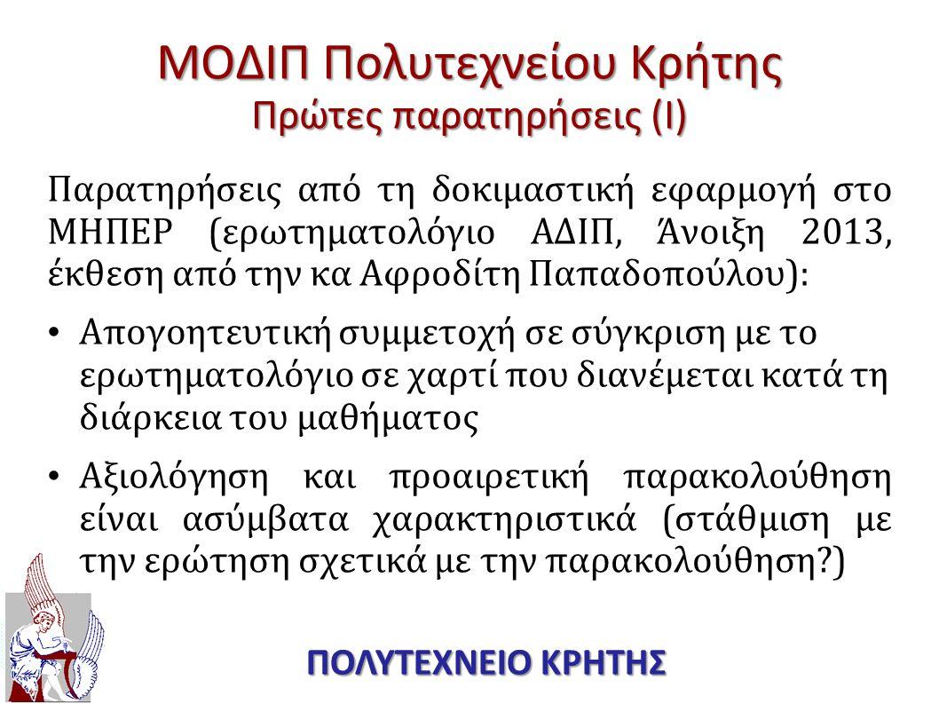 ΜΟΔΙΠ Πολυτεχνείου Κρήτης Πρώτες παρατηρήσεις (Ι)