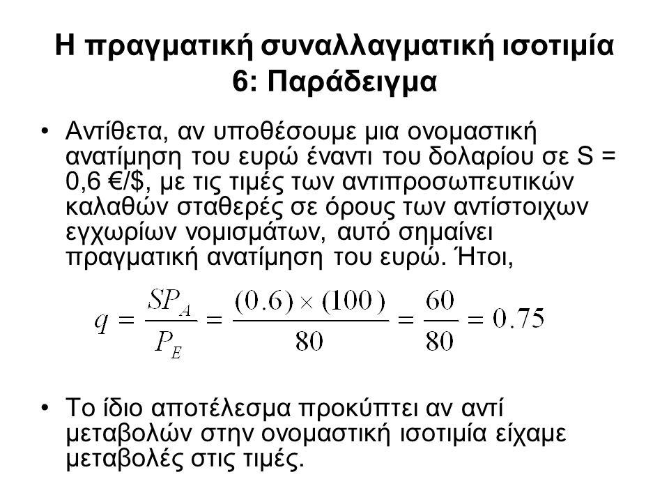 Η πραγματική συναλλαγματική ισοτιμία 6: Παράδειγμα