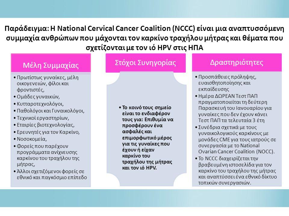 Παράδειγμα: Η National Cervical Cancer Coalition (NCCC) είναι μια αναπτυσσόμενη συμμαχία ανθρώπων που μάχονται τον καρκίνο τραχήλου μήτρας και θέματα που σχετίζονται με τον ιό HPV στις ΗΠΑ