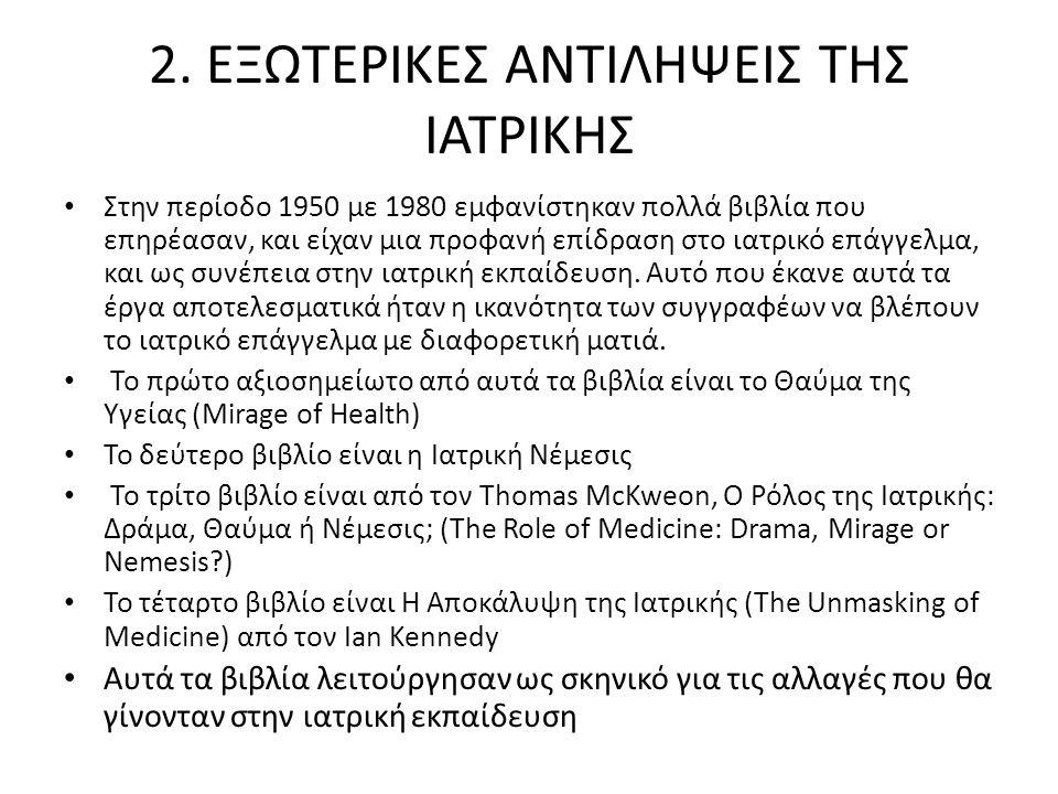 2. ΕΞΩΤΕΡΙΚΕΣ ΑΝΤΙΛΗΨΕΙΣ ΤΗΣ ΙΑΤΡΙΚΗΣ