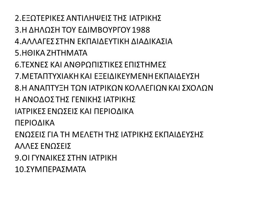2.ΕΞΩΤΕΡΙΚΕΣ ΑΝΤΙΛΗΨΕΙΣ ΤΗΣ ΙΑΤΡΙΚΗΣ