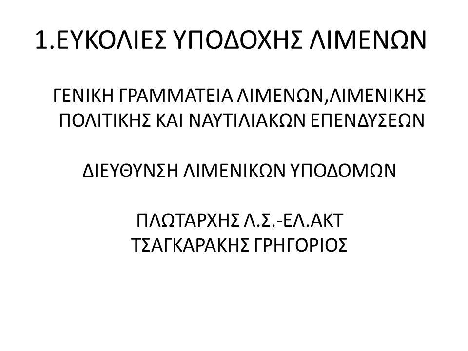 1.ΕΥΚΟΛΙΕΣ ΥΠΟΔΟΧΗΣ ΛΙΜΕΝΩΝ