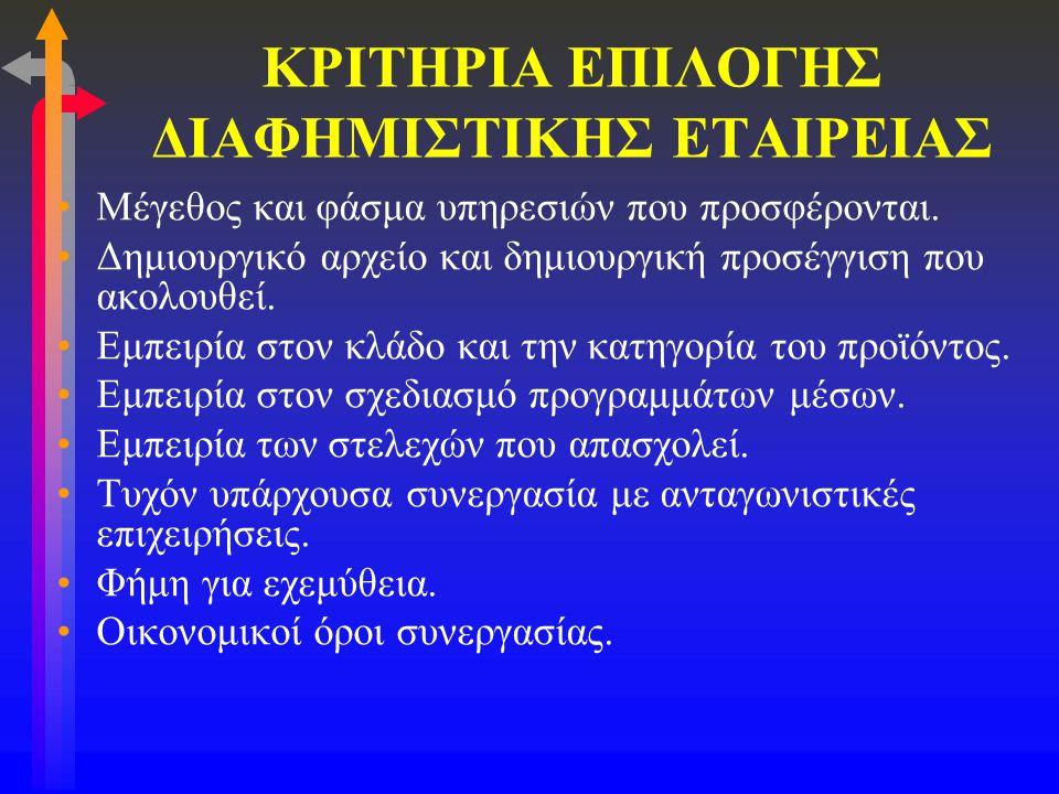 ΚΡΙΤΗΡΙΑ ΕΠΙΛΟΓΗΣ ΔΙΑΦΗΜΙΣΤΙΚΗΣ ΕΤΑΙΡΕΙΑΣ