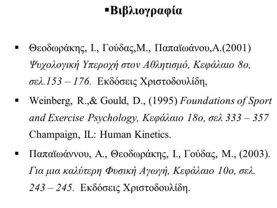 Βιβλιογραφία Θεοδωράκης, Ι., Γούδας,Μ., Παπαϊωάνου,Α.(2001) Ψυχολογική Υπεροχή στον Αθλητισμό, Κεφάλαιο 8ο, σελ.153 – 176. Εκδόσεις Χριστοδουλίδη,