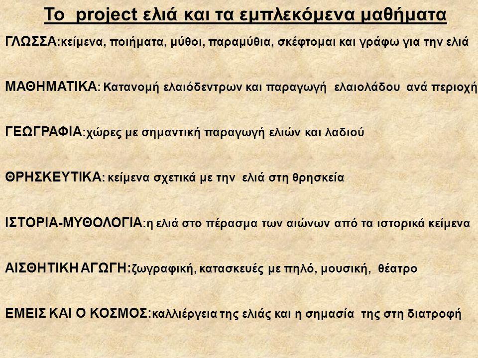 Το project ελιά και τα εμπλεκόμενα μαθήματα