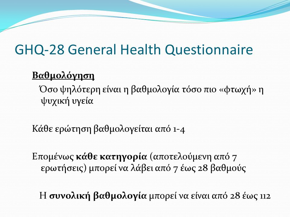 GHQ-28 General Health Questionnaire