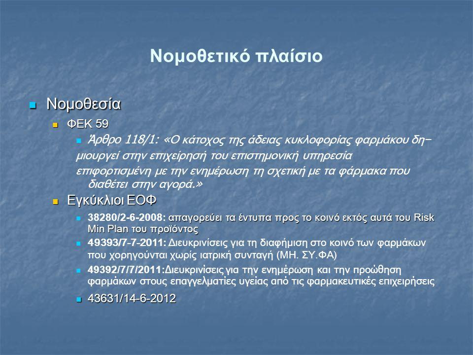 Νομοθετικό πλαίσιο Νομοθεσία Εγκύκλιοι ΕΟΦ ΦΕΚ 59