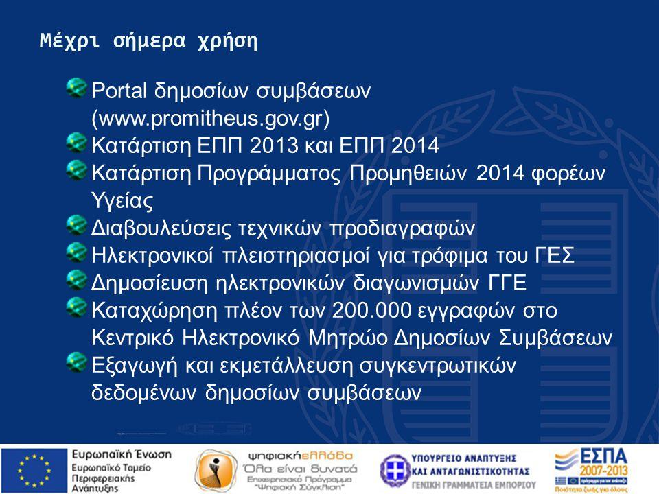 Μέχρι σήμερα χρήση Portal δημοσίων συμβάσεων (www.promitheus.gov.gr) Κατάρτιση ΕΠΠ 2013 και ΕΠΠ 2014.