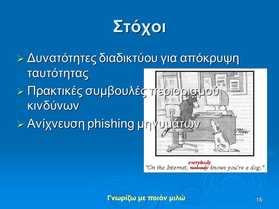 Στόχοι Δυνατότητες διαδικτύου για απόκρυψη ταυτότητας