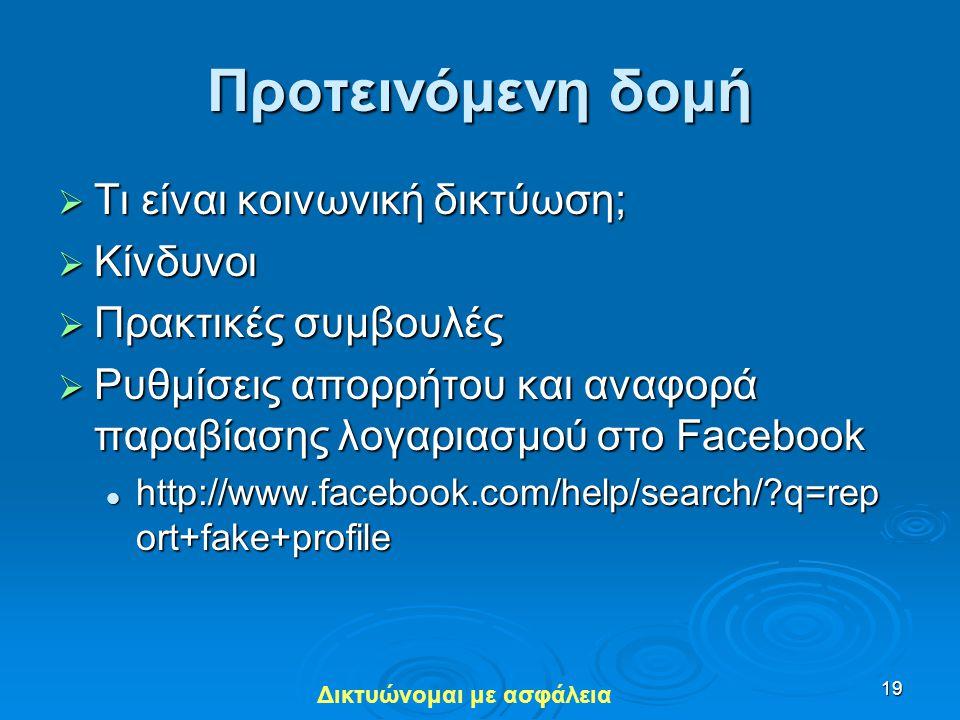 Προτεινόμενη δομή Τι είναι κοινωνική δικτύωση; Κίνδυνοι