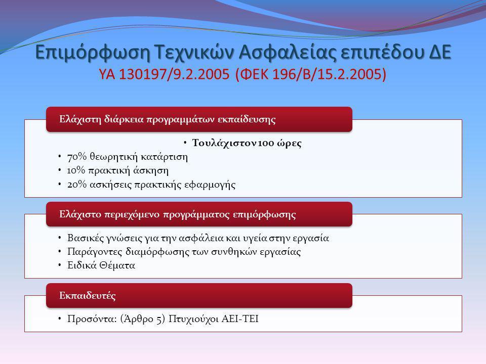 Επιμόρφωση Τεχνικών Ασφαλείας επιπέδου ΔΕ ΥΑ 130197/9. 2