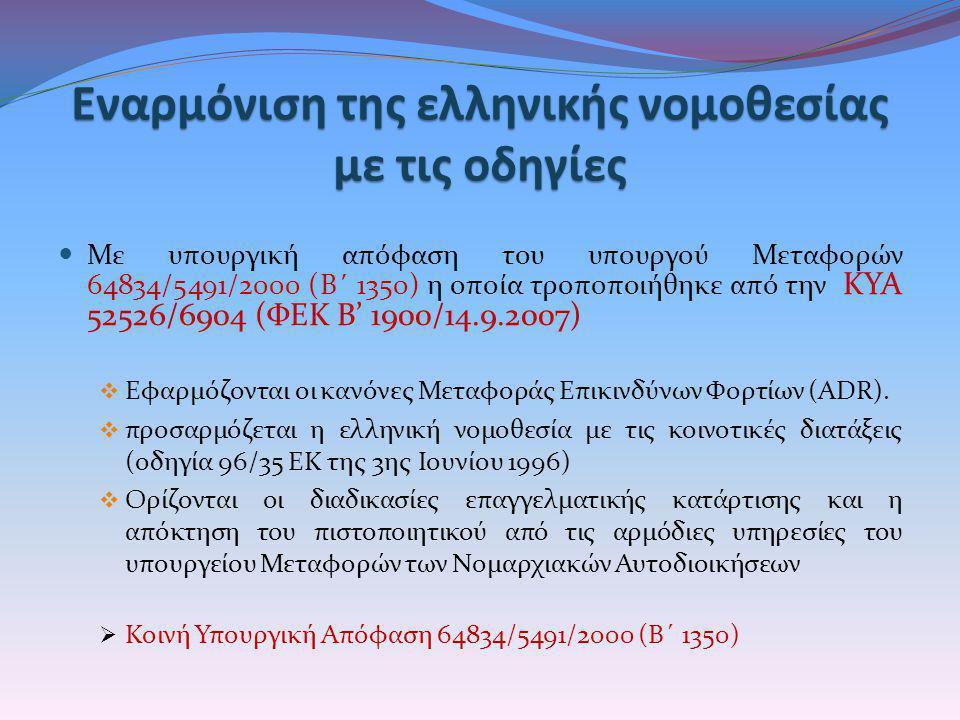 Εναρμόνιση της ελληνικής νομοθεσίας με τις οδηγίες