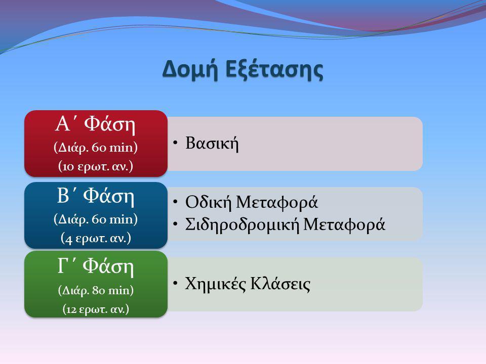 Δομή Εξέτασης Α΄ Φάσ η Γ΄ Φάσ η Β΄ Φάσ η (Διάρ. 60 min) (10 ερωτ. αν.)