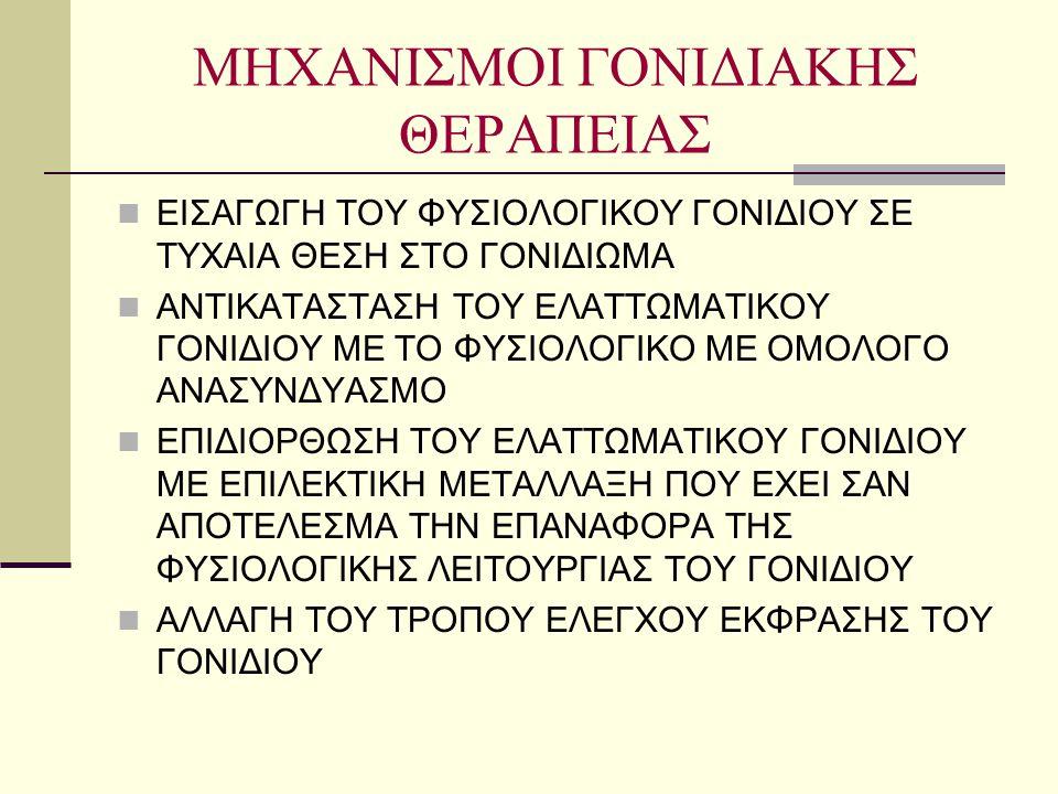 ΜΗΧΑΝΙΣΜΟΙ ΓΟΝΙΔΙΑΚΗΣ ΘΕΡΑΠΕΙΑΣ