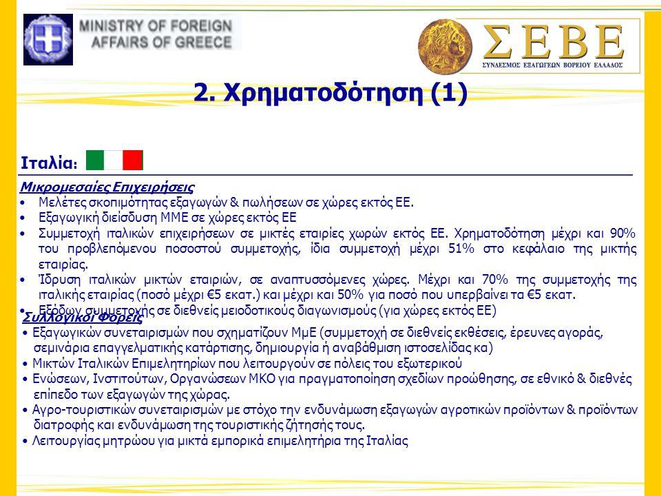 2. Χρηματοδότηση (1) Ιταλία: Μικρομεσαίες Επιχειρήσεις