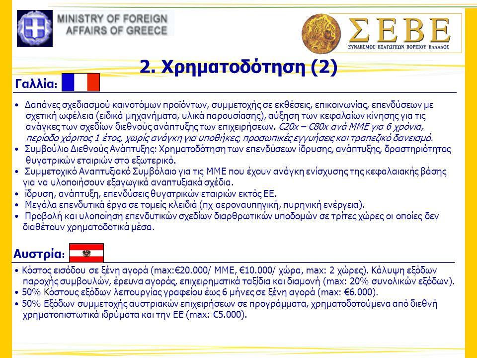 2. Χρηματοδότηση (2) Γαλλία: Αυστρία: