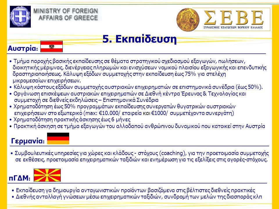 5. Εκπαίδευση Αυστρία: Γερμανία: πΓΔΜ: