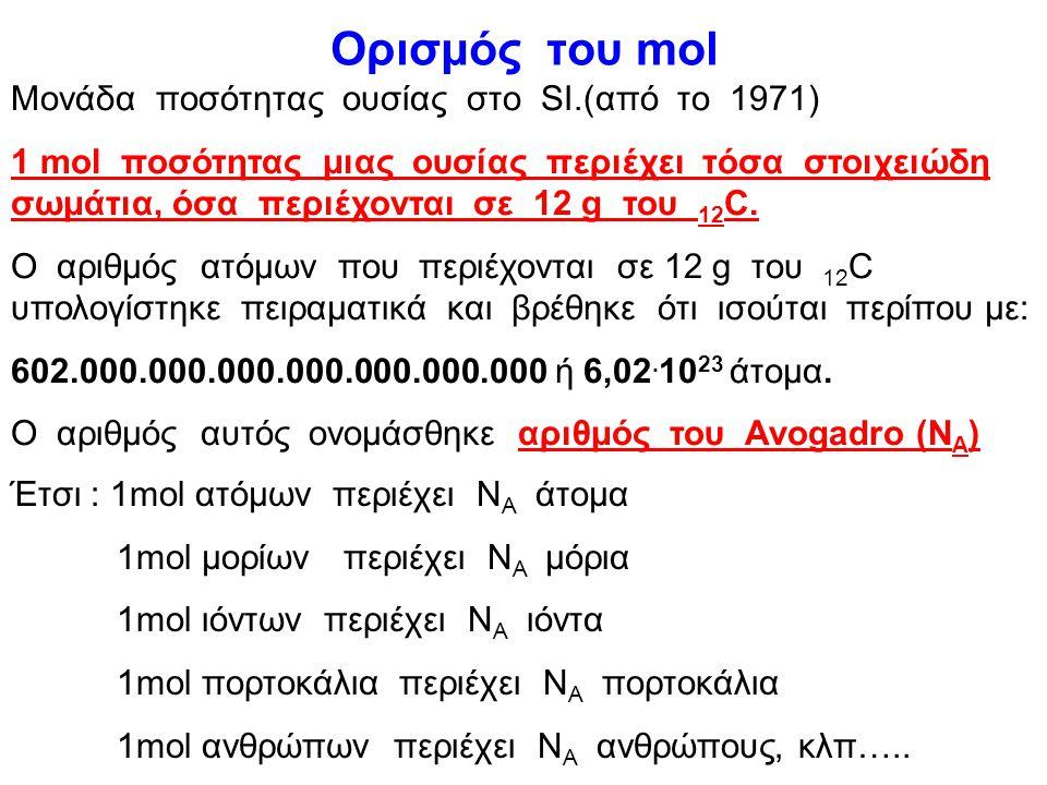 Ορισμός του mol Μονάδα ποσότητας ουσίας στο SI.(από το 1971)