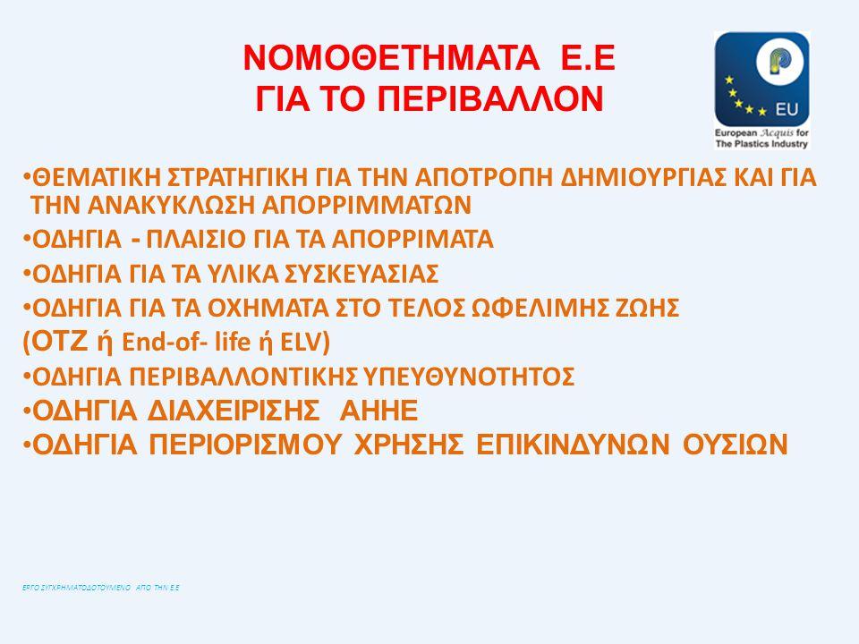 ΝΟΜΟΘΕΤΗΜΑΤΑ Ε.Ε ΓΙΑ ΤΟ ΠΕΡΙΒΑΛΛΟΝ